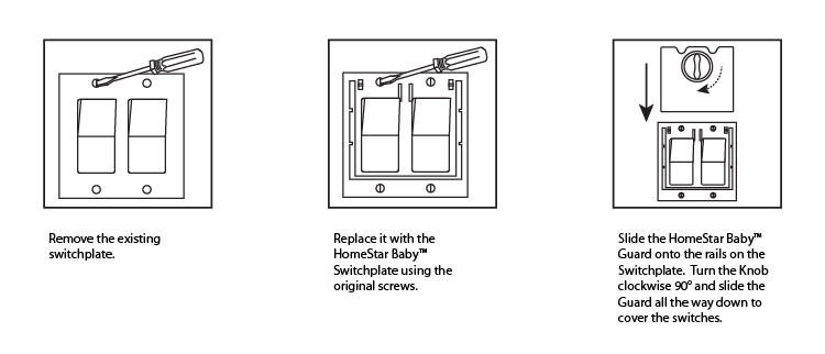 Installation instructions for HomeStar Baby Switch Guard