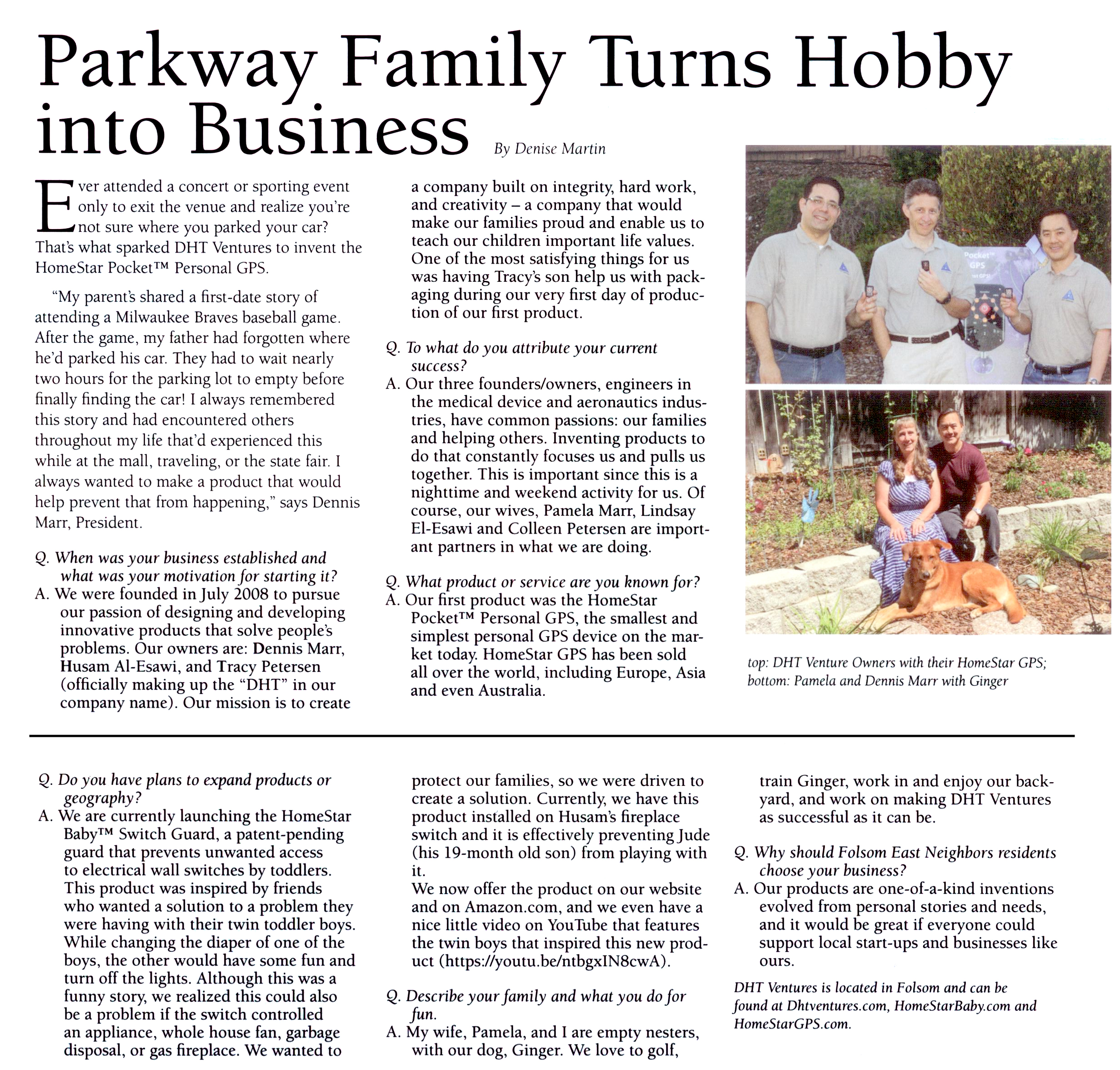 DHT Ventures Folsom East Neighbors article - Oct issue